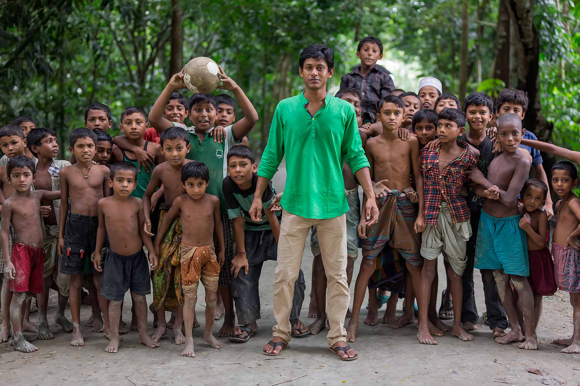 Children ready to play some football in Galachipa, Bangladesh. © Ulli Maier & Nisa Maier
