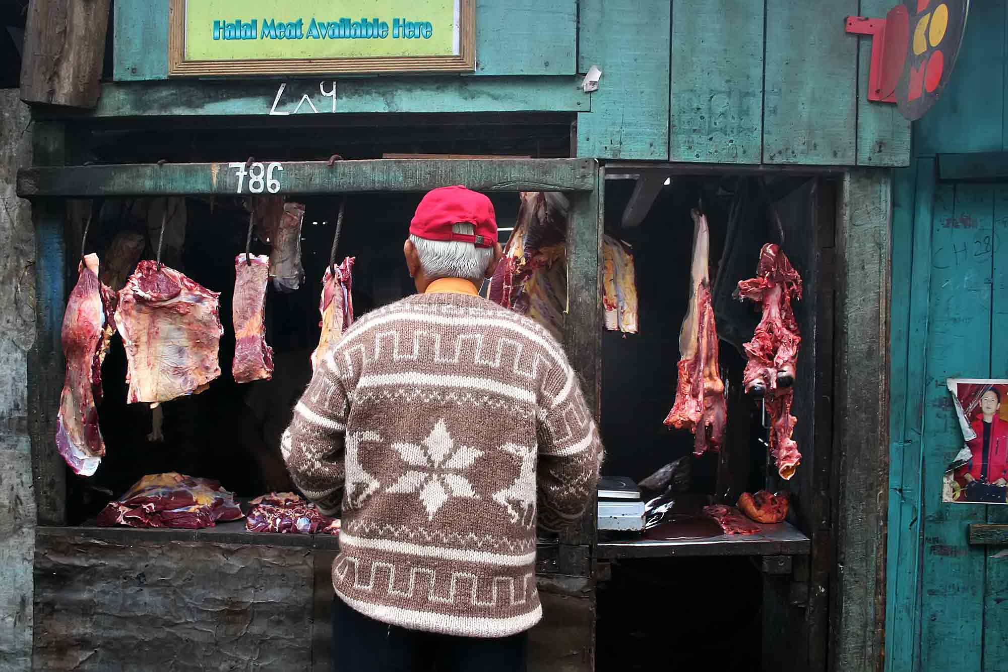 Halal meat shop in Darjeeling, India. © Ulli Maier & Nisa Maier