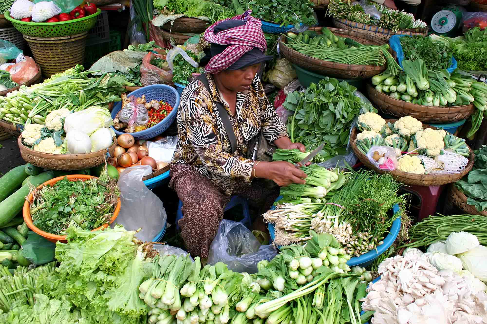 Selling vegetables at a market in Phnom Penh, Cambodia. © Ulli Maier & Nisa Maier