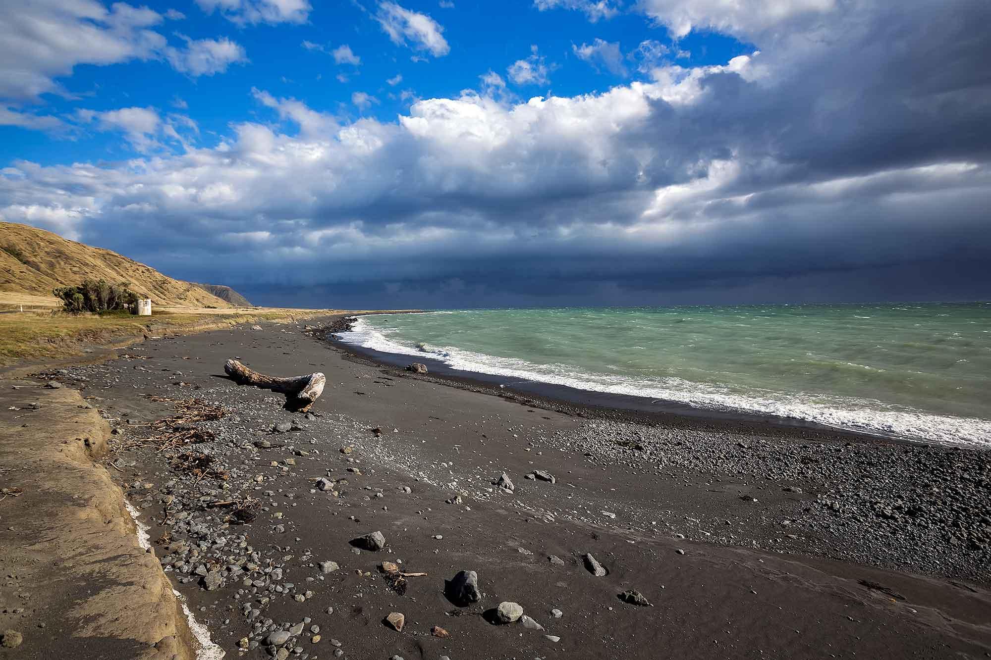 Black beach on Cape Palliser, New Zealand. © Ulli Maier & Nisa Maier