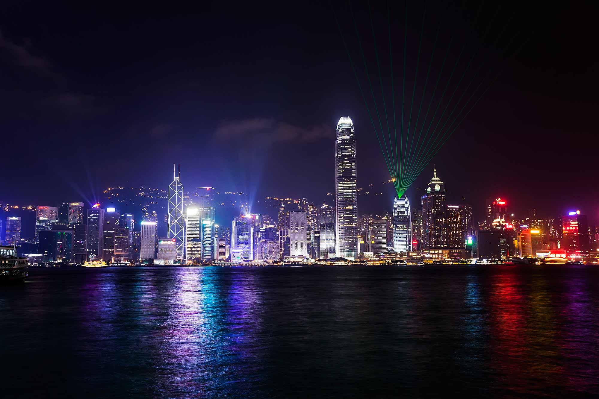 A Symphony of Lights - Hong Kong's laser show. © Ulli Maier & Nisa Maier