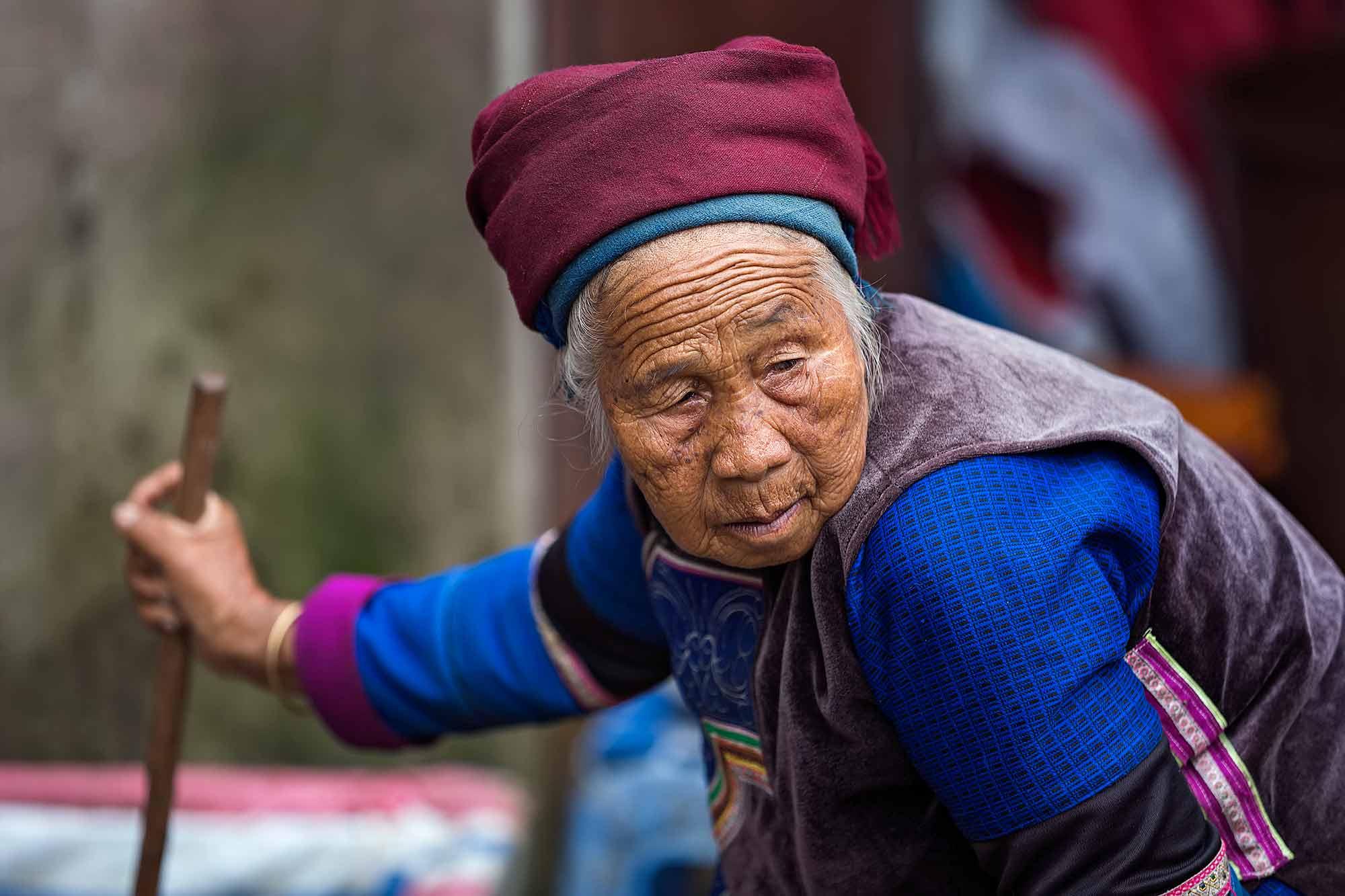 An old woman in Duoyishu, Yunnan. © Ulli Maier & Nisa Maier