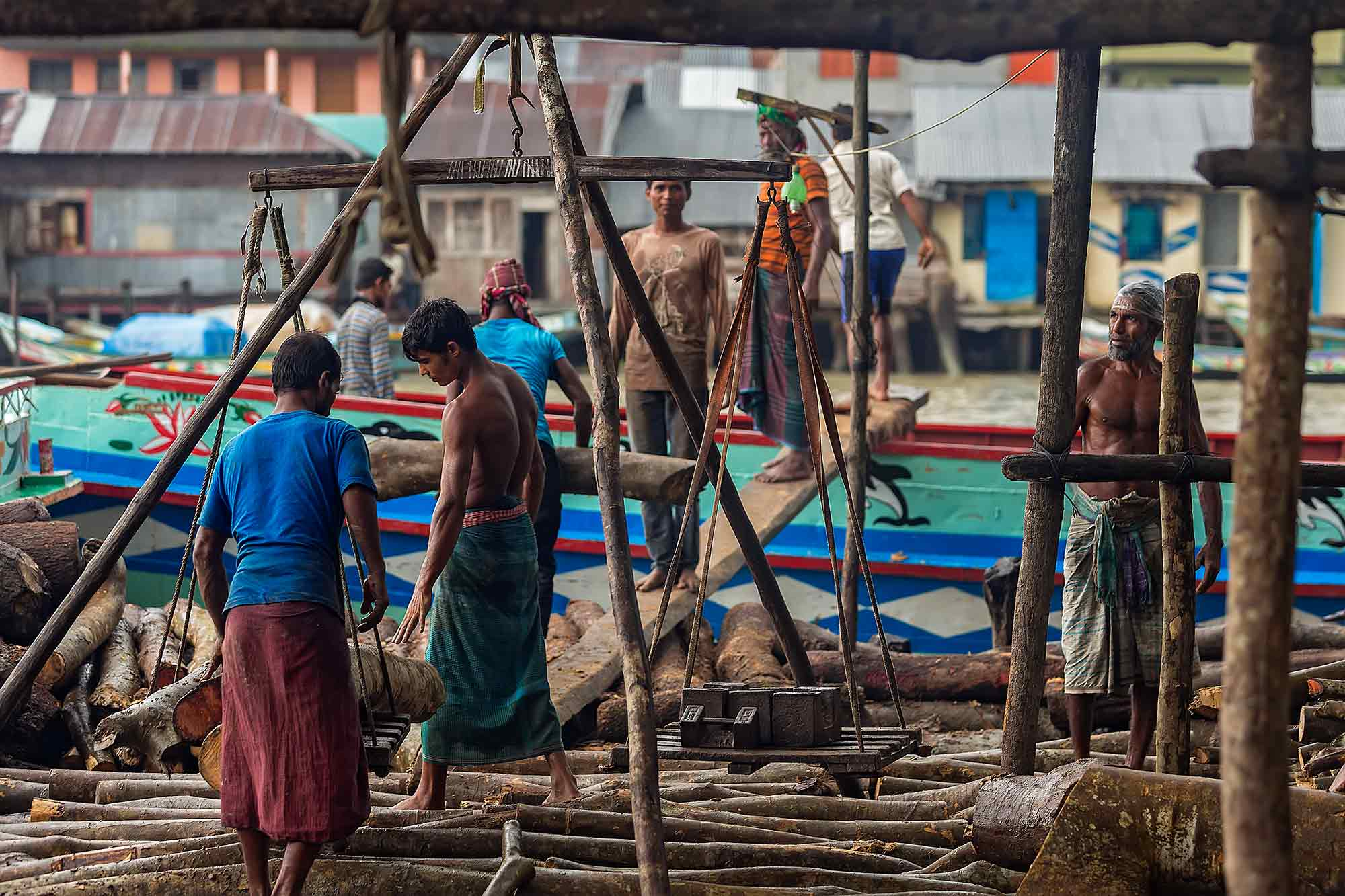 Men weighing the wood trunks in Swarupkati, Bangladesh. © Ulli Maier & Nisa Maier
