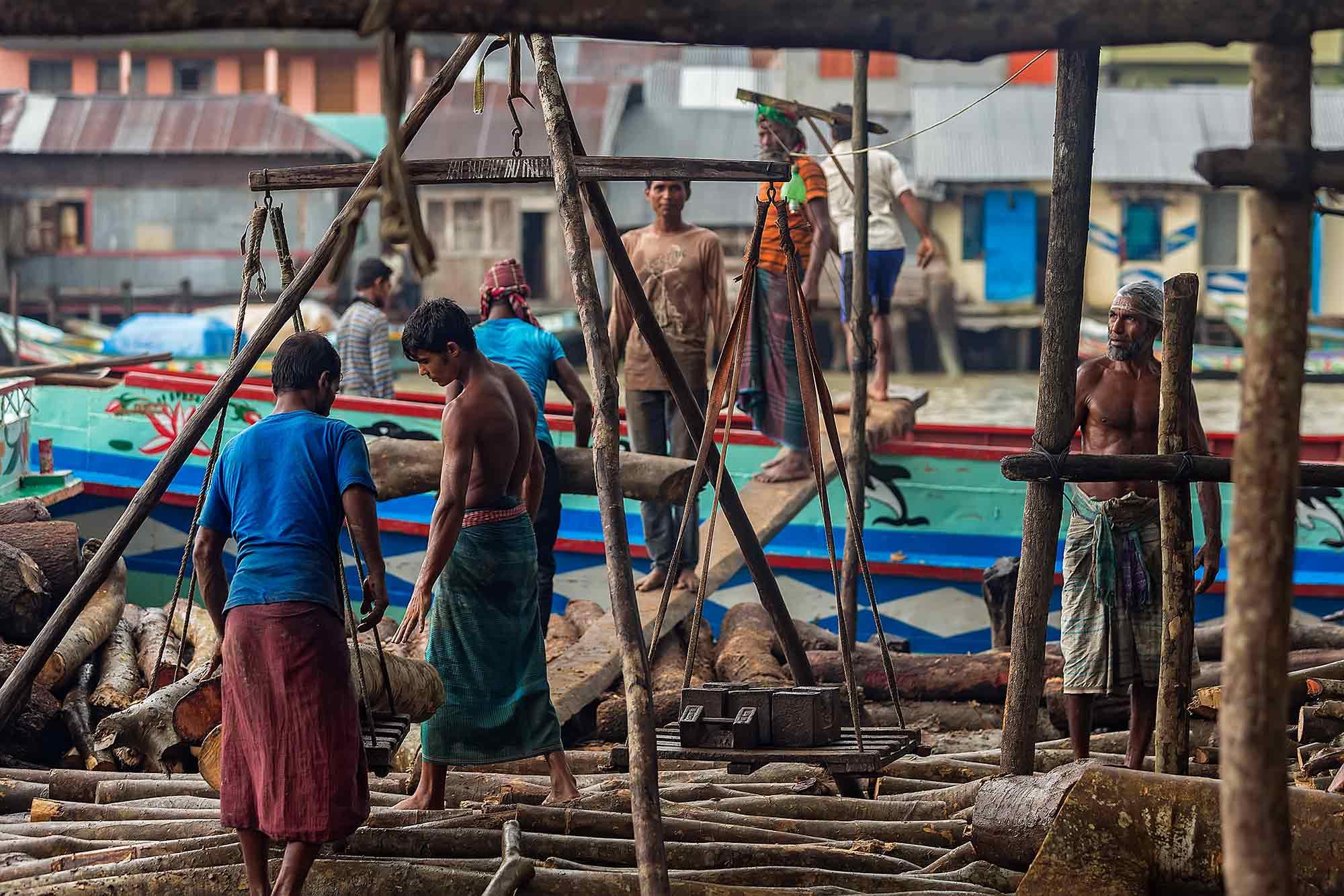 Men weighing the wood trunks in Swarupkati, Bangladesh. © Ulli Maier & Nisa Maier