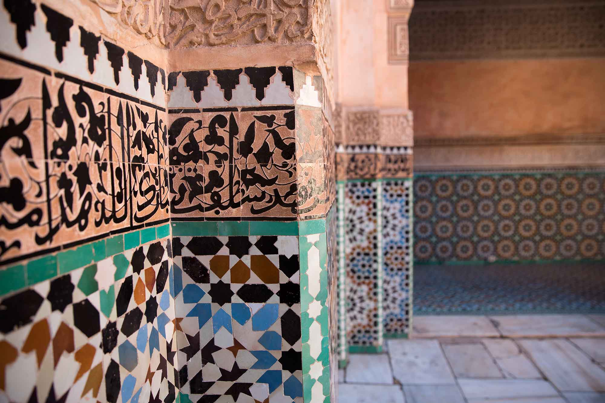 The Ben Youssef Madrasa was an Islamic college in Marrakech. It's the largest madrasa in all of Morocco. © ULLI MAIER & NISA MAIER