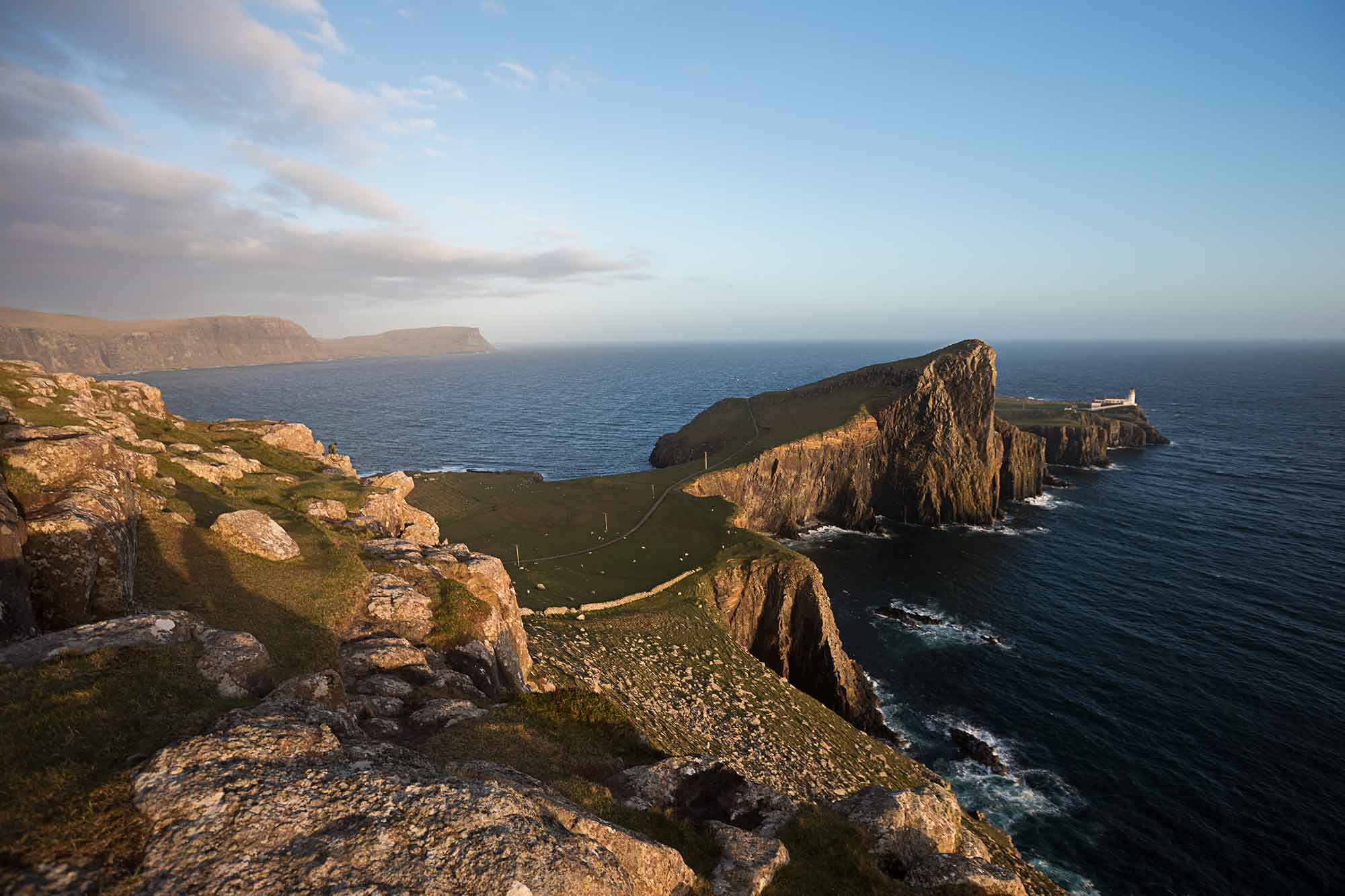Neist Point is one of the most photographed spot. It's true beauty comes out during sunset, when the dark blue ocean clashes with the steep orange cliffs. © ULLI MAIER & NISA MAIER