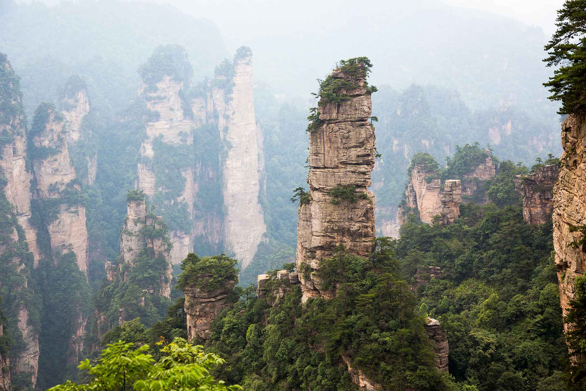 "Zhangjiajie is famous for its 3,000 vertical pillars, each hundreds of feet tall and covered in dense green foliage. These pillars were formed by erosion and draw in upwards of 30 million tourists every year. Apart from the tourist masses, this place is absolutely stunning. No wonder it was the inspiration for the floating mountains in the movie ""Avatar."" © ULLI MAIER & NISA MAIER"